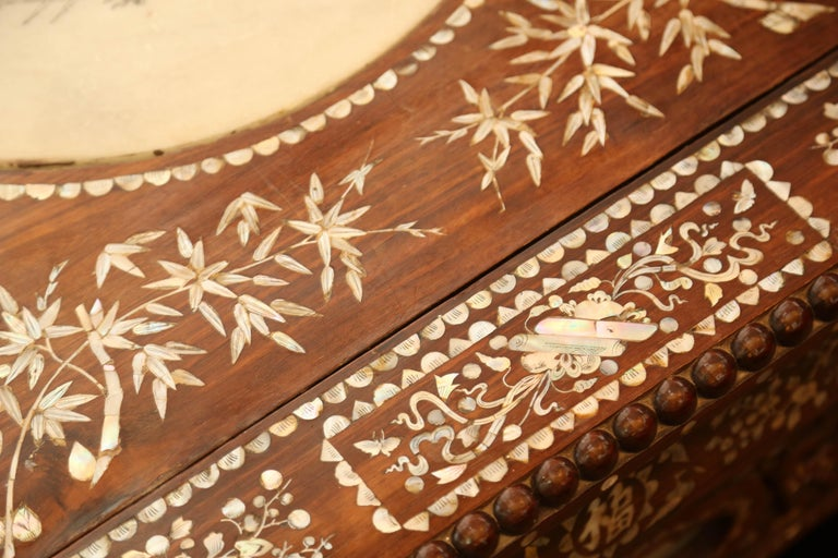Chinese Wedding Bed, 19th Century Mother-of-Pearl Inlay Marble, Dragons, Royalty For Sale 12