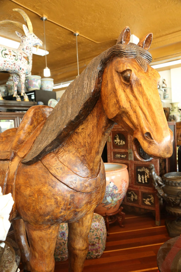 Late 19th Century Pair of Wooden Mongolian Horses Lifesize Ching Dynasty, Late 20th Century For Sale