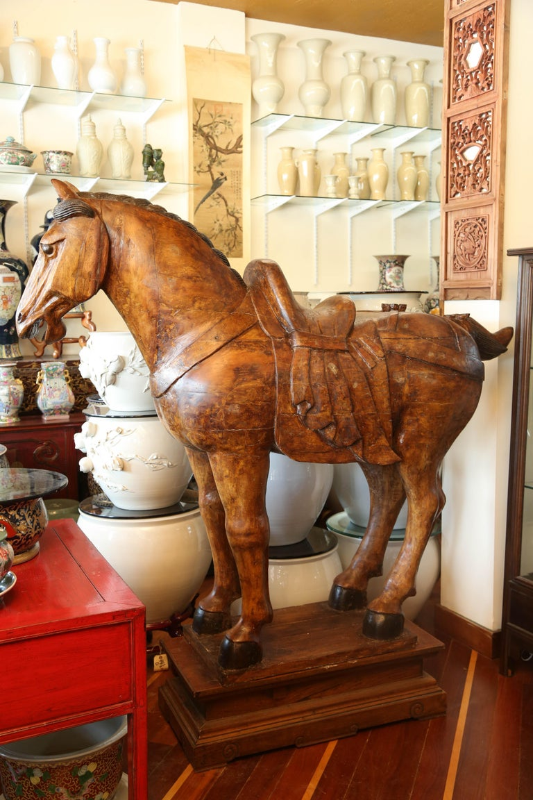 Pair of Wooden Mongolian Horses Lifesize Ching Dynasty, Late 20th Century For Sale 3