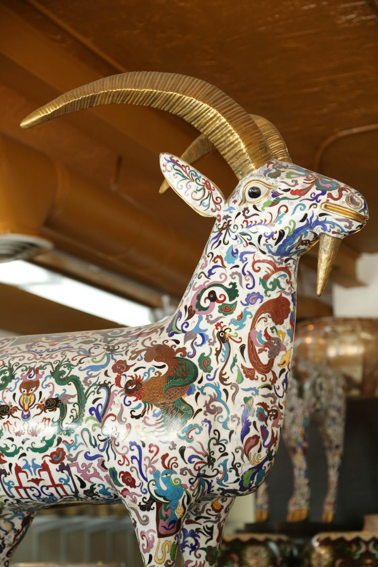 Rams are from an important Chinese collection on sale for the first time over 100 years old, using the original cloisonne process, resulting in outstanding workmanship according tradition they bring peace and luck