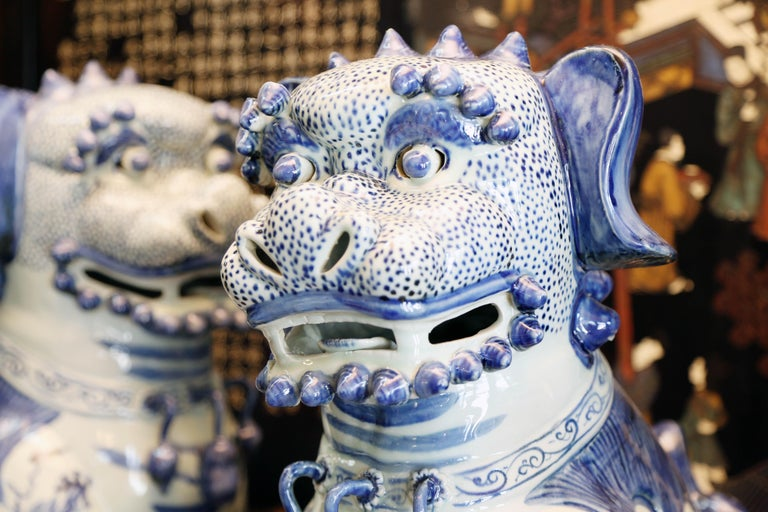 Pair Blue and White Chinese Foo Dogs Hand-Painted, Private Chinese Collection For Sale 1