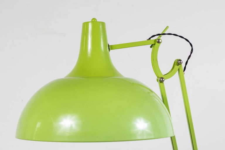 French oversized articulating green painted floor lamp. Newly rewired.