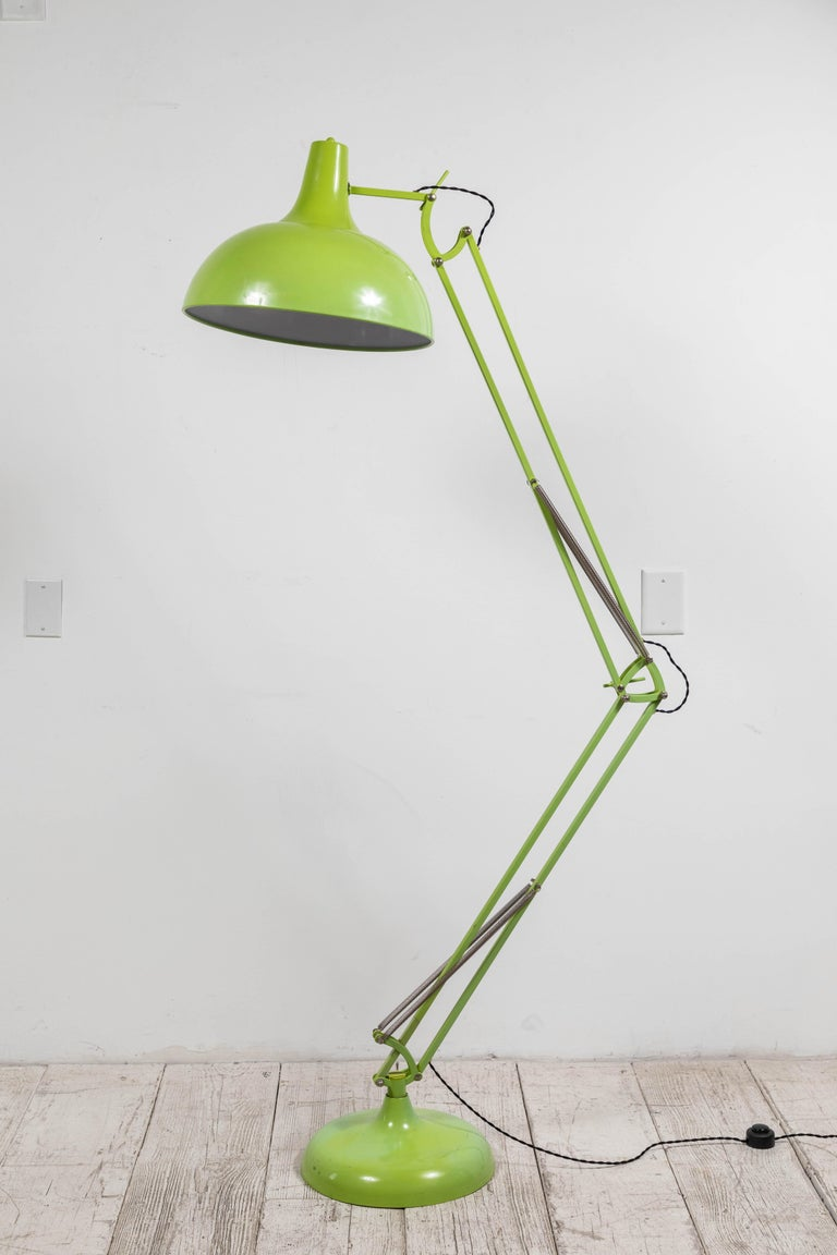 French Oversized Articulating Green Painted Floor Lamp For Sale 1