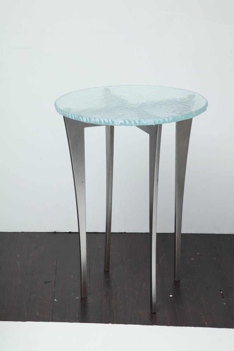 Mid-Century Modern Artisan Translucent Glass Top with Curving Steel Base Side Table For Sale