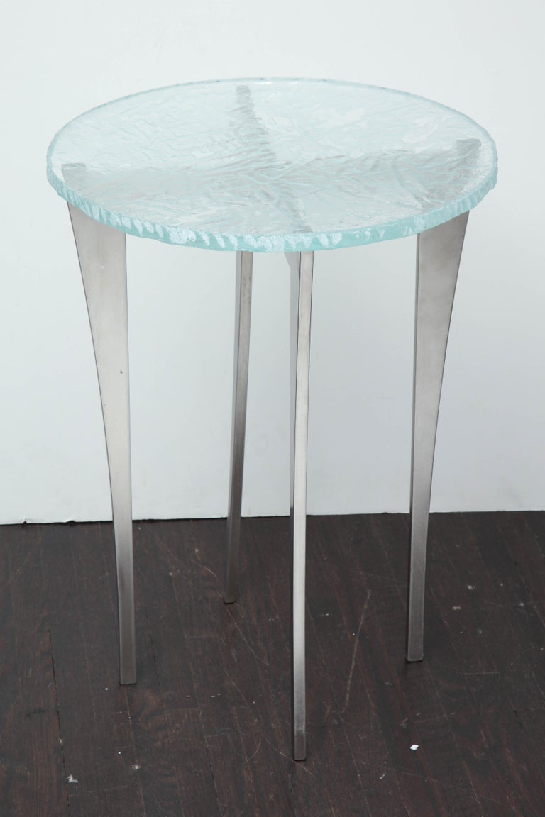 Artisan Translucent Glass Top with Curving Steel Base Side Table In Excellent Condition For Sale In New York, NY