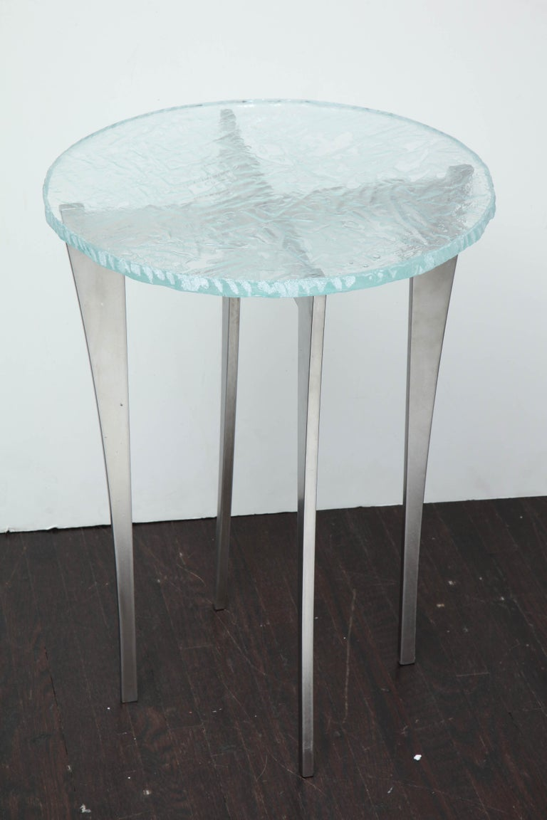 Stainless Steel Artisan Translucent Glass Top with Curving Steel Base Side Table For Sale