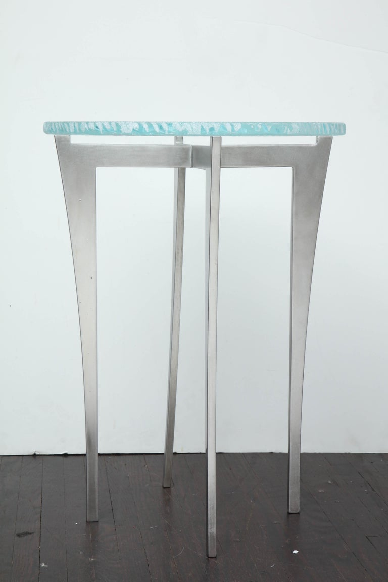 Artisan Translucent Glass Top with Curving Steel Base Side Table For Sale 1