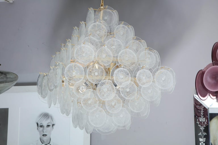 Contemporary Italian Murano Venini Disc Chandelier in Polyhedral Shape For Sale