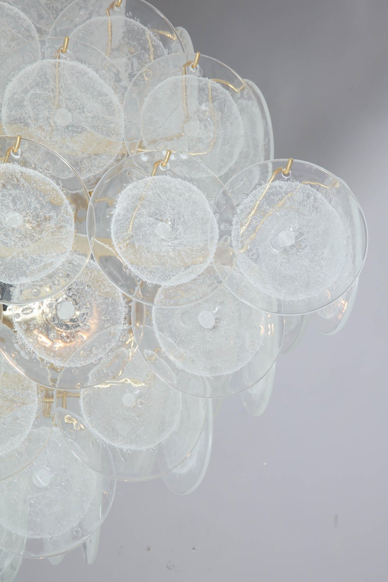 Murano Glass Italian Murano Venini Disc Chandelier in Polyhedral Shape For Sale