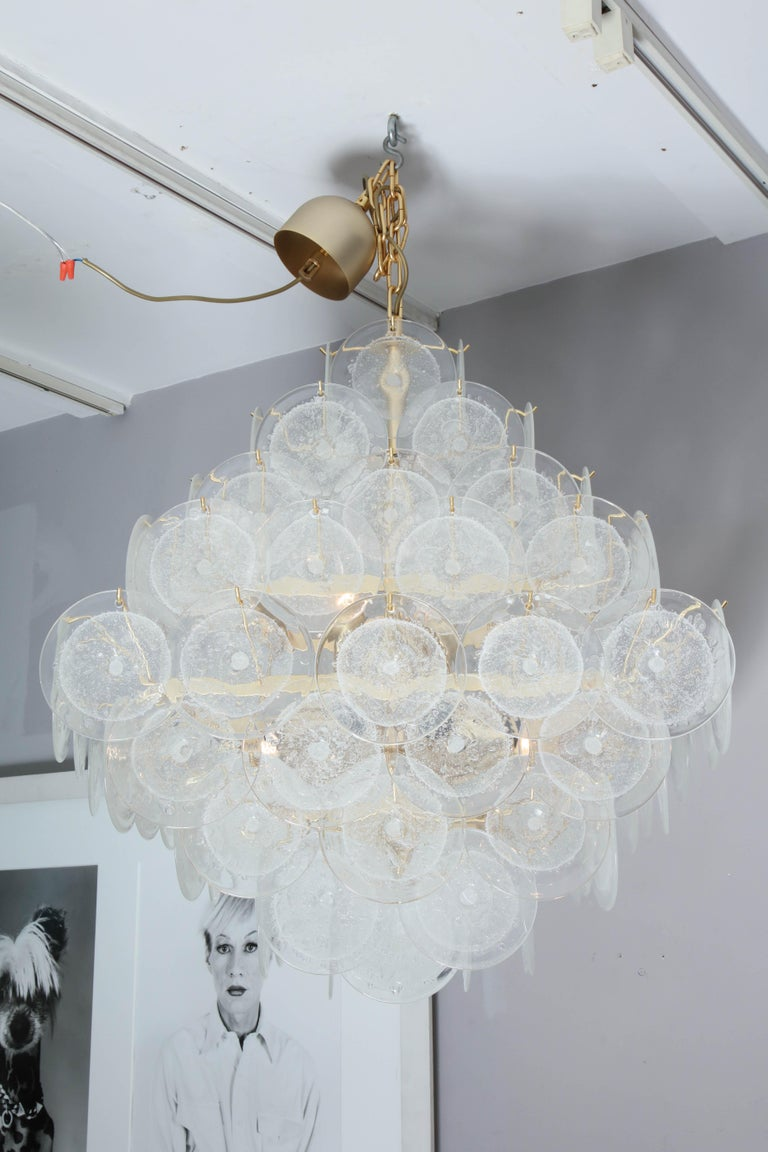 Italian Murano Venini Disc Chandelier in Polyhedral Shape For Sale 3