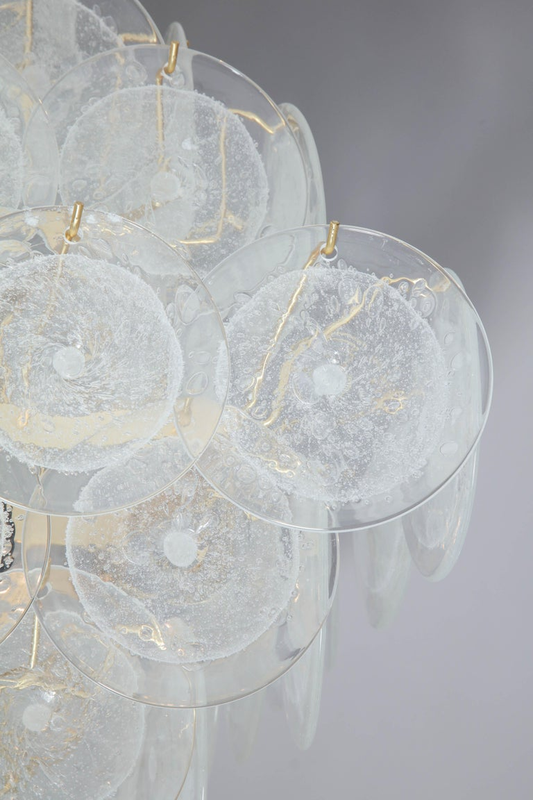 Italian Murano Venini Disc Chandelier in Polyhedral Shape For Sale 4