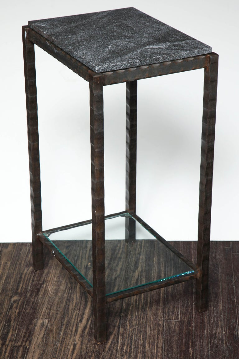 Dazzling Granite Side Table in Hammered Steel Frame In Excellent Condition For Sale In New York, NY