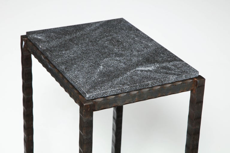 Contemporary Dazzling Granite Side Table in Hammered Steel Frame For Sale