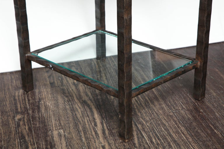 Cut Glass Dazzling Granite Side Table in Hammered Steel Frame For Sale