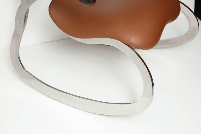 Organic Body Rocking Chair with Dynamic Curving Steel Frames In Excellent Condition For Sale In New York, NY