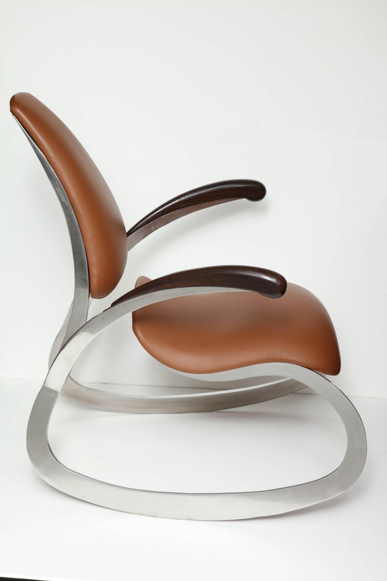 Contemporary Organic Body Rocking Chair with Dynamic Curving Steel Frames For Sale