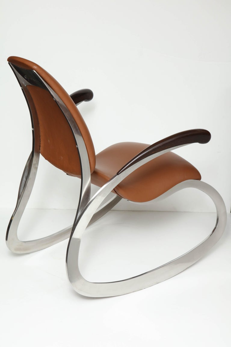 Organic Body Rocking Chair with Dynamic Curving Steel Frames For Sale 1