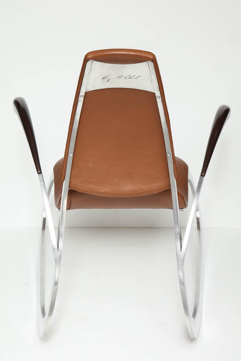 Organic Body Rocking Chair with Dynamic Curving Steel Frames For Sale 3