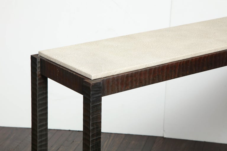 Embossed Edelman Leather Shagreen Console For Sale 2