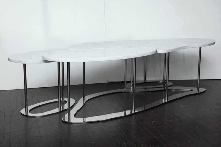 Organic free-form marble cocktail table with two integrated tables. Top made with organic cut Italian marble.