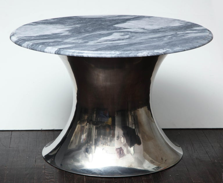 Contemporary Cloud Gray Marble Coffee Table with Olpe Stainless Steel Base For Sale