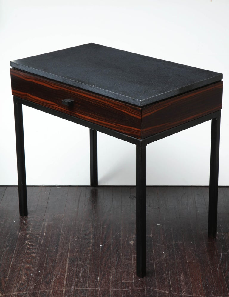 Beautifully composed with Macassar ebony wood drawer and blackened steel legs.