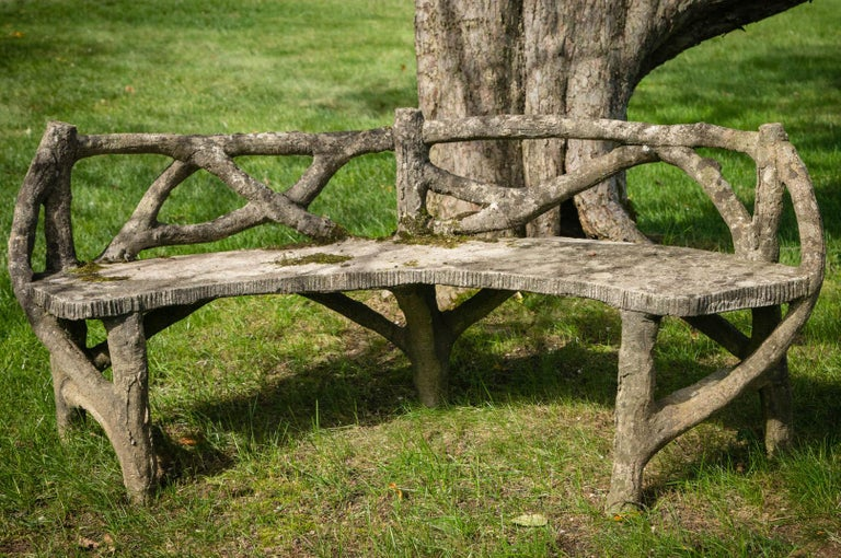 French Faux Bois Curved Bench For Sale