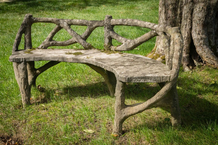 Faux Bois Curved Bench In Good Condition For Sale In Mt Kisco, NY