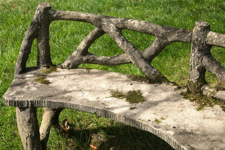 20th Century Faux Bois Curved Bench For Sale