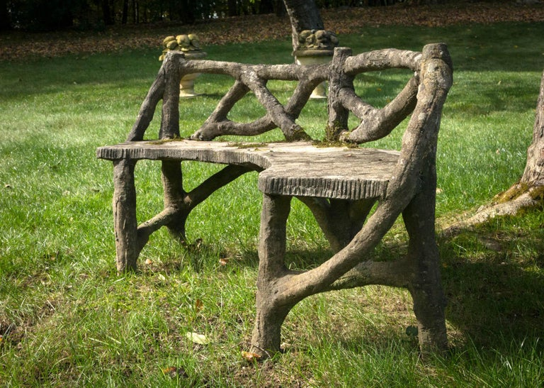 Faux Bois Curved Bench For Sale 1