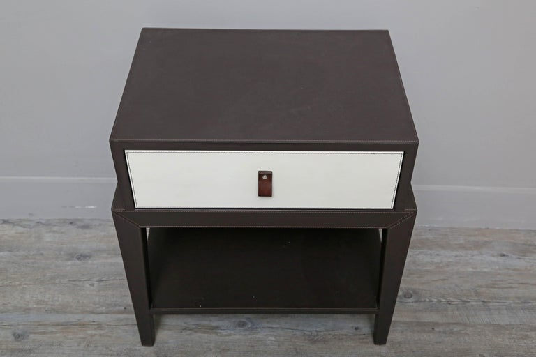 European Leather Nightstand or Side Table by Serge de Troyer, Italy, 2018 For Sale