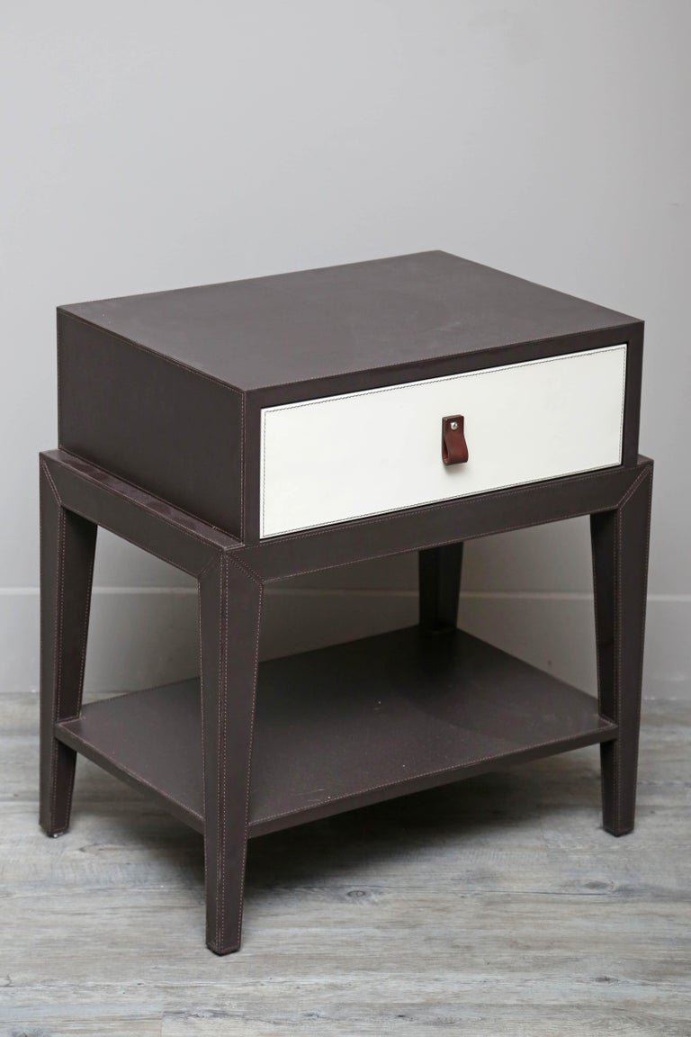 Contemporary Leather Nightstand or Side Table by Serge de Troyer, Italy, 2018 For Sale