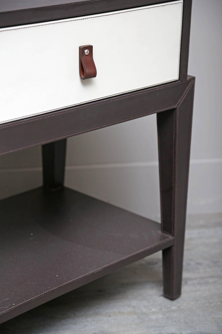 Leather Nightstand or Side Table by Serge de Troyer, Italy, 2018 For Sale 2