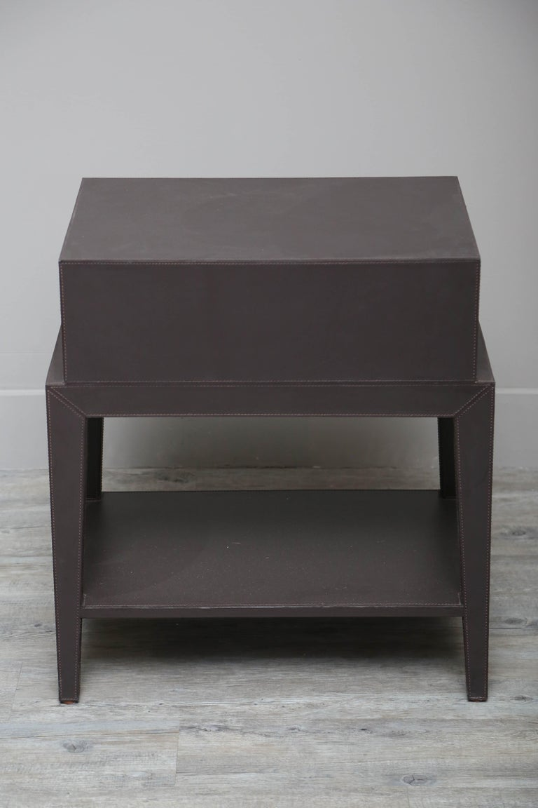 Leather Nightstand or Side Table by Serge de Troyer, Italy, 2018 For Sale 3