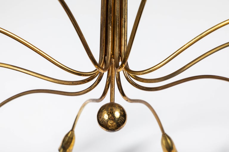 Art Deco French Brass Spider Pendant with 10 Sockets For Sale 2