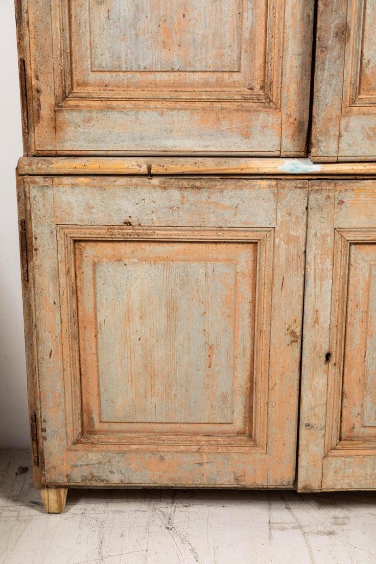 19th century vintage Swedish Gustavian two-piece cabinet.