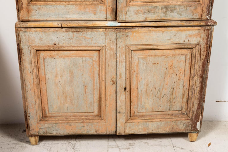 19th Century Vintage Swedish Gustavian Two-Piece Cabinet In Good Condition For Sale In Los Angeles, CA