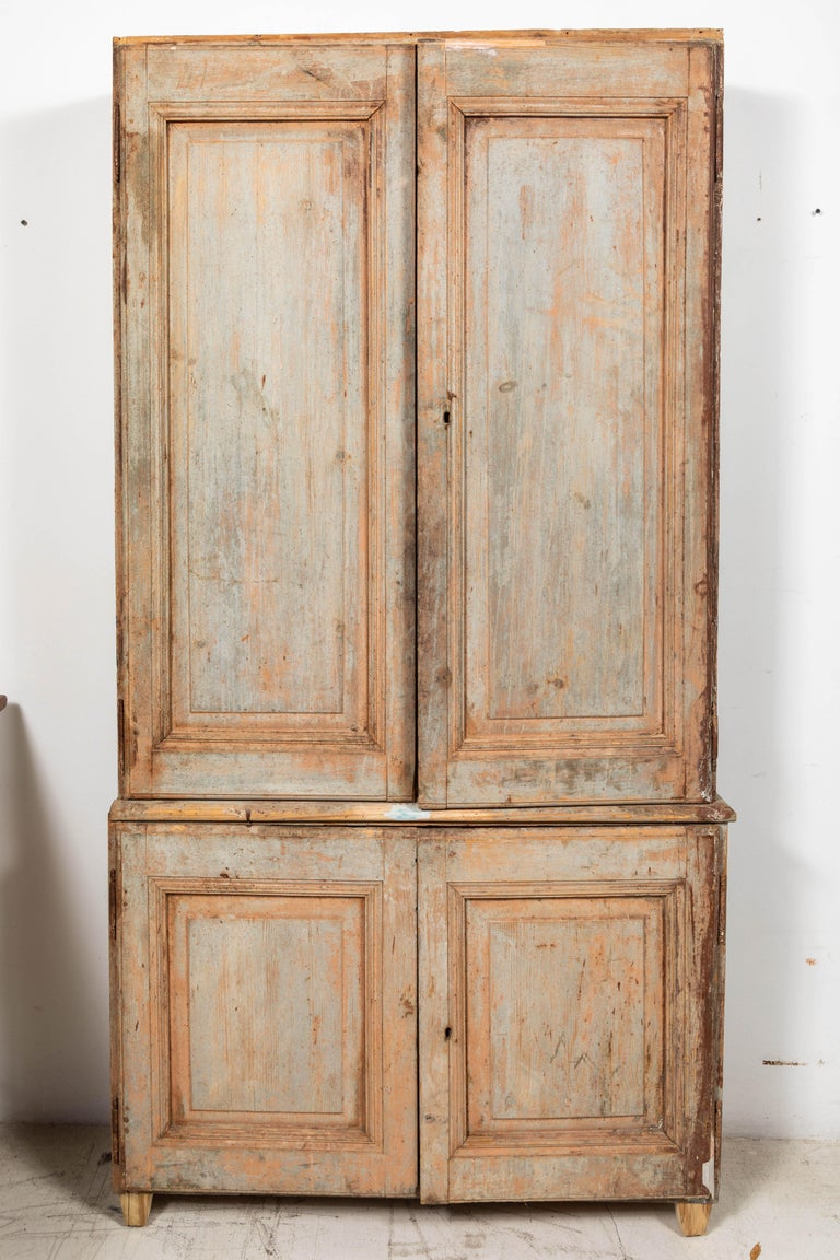 19th Century Vintage Swedish Gustavian Two-Piece Cabinet For Sale 1