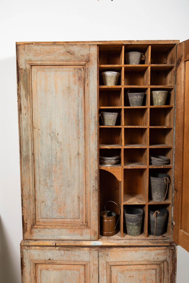 19th Century Vintage Swedish Gustavian Two-Piece Cabinet For Sale 2
