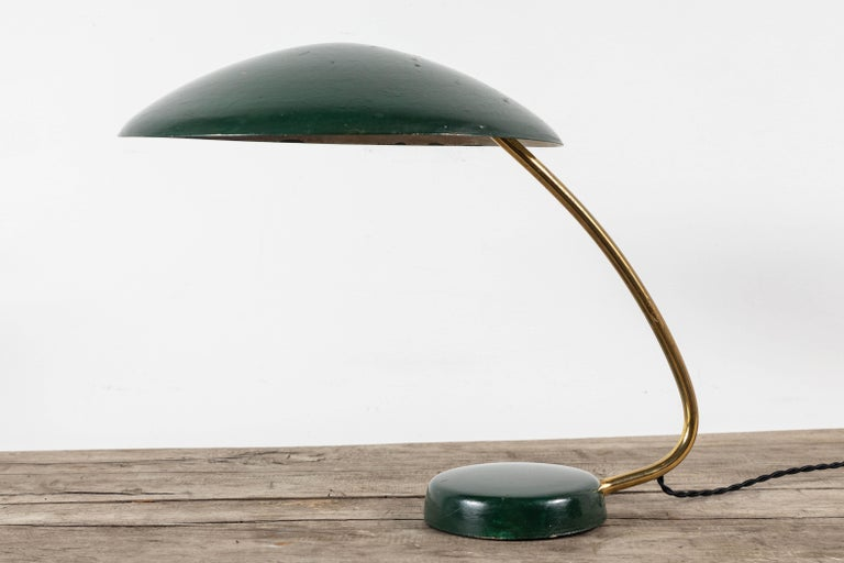 French Midcentury Brass Table Lamp with Green Painted Shade and Base For Sale 2