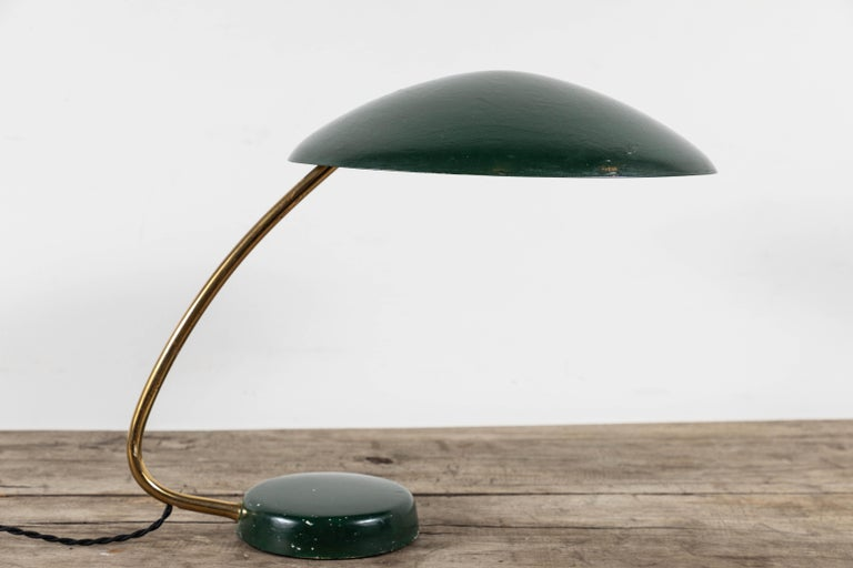French Midcentury Brass Table Lamp with Green Painted Shade and Base For Sale 4