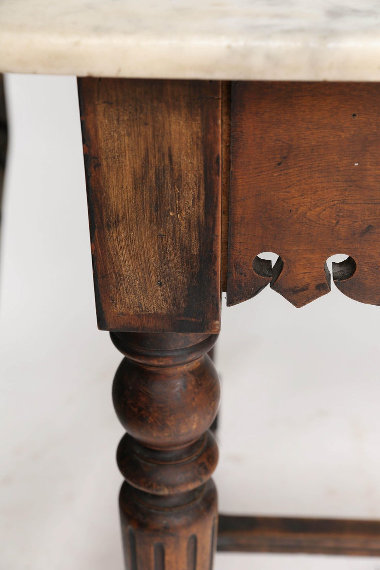 French Marble-Top Oak Butcher Table In Good Condition For Sale In Houston, TX