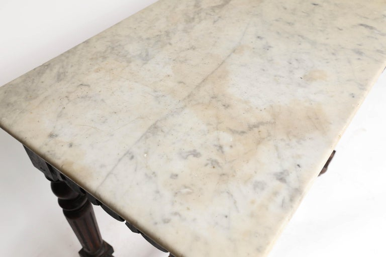 French Marble-Top Oak Butcher Table For Sale 2