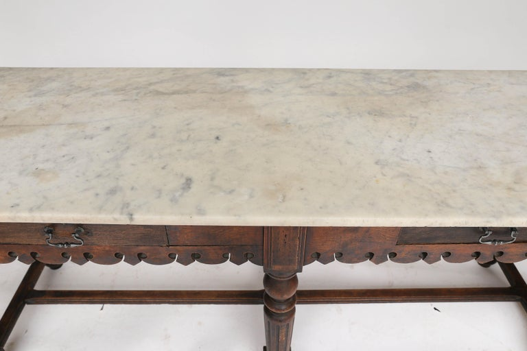 French Marble-Top Oak Butcher Table For Sale 3