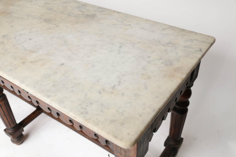French Marble-Top Oak Butcher Table For Sale 4