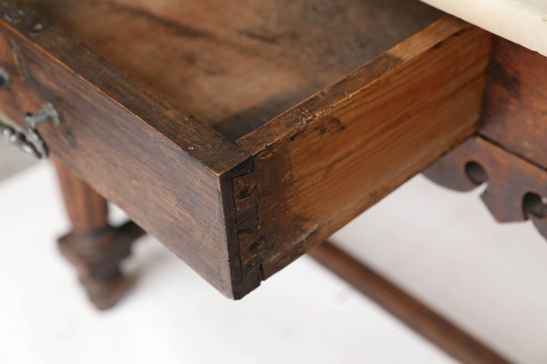 French Marble-Top Oak Butcher Table For Sale 7