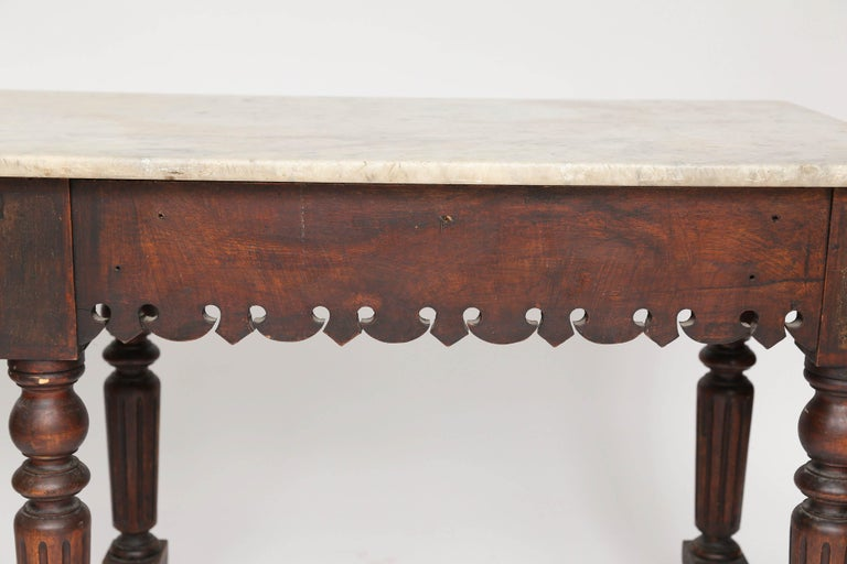 French Marble-Top Oak Butcher Table For Sale 9