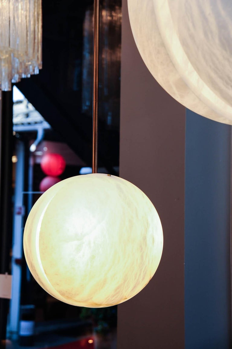 Contemporary Set of Three Brass and Alabaster Half Spheres Suspensions by Glustin Luminaires For Sale