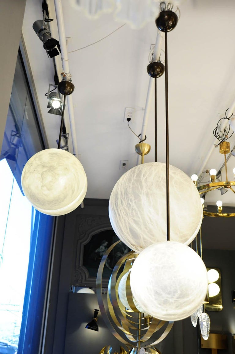 Set of Three Brass and Alabaster Half Spheres Suspensions by Glustin Luminaires For Sale 2