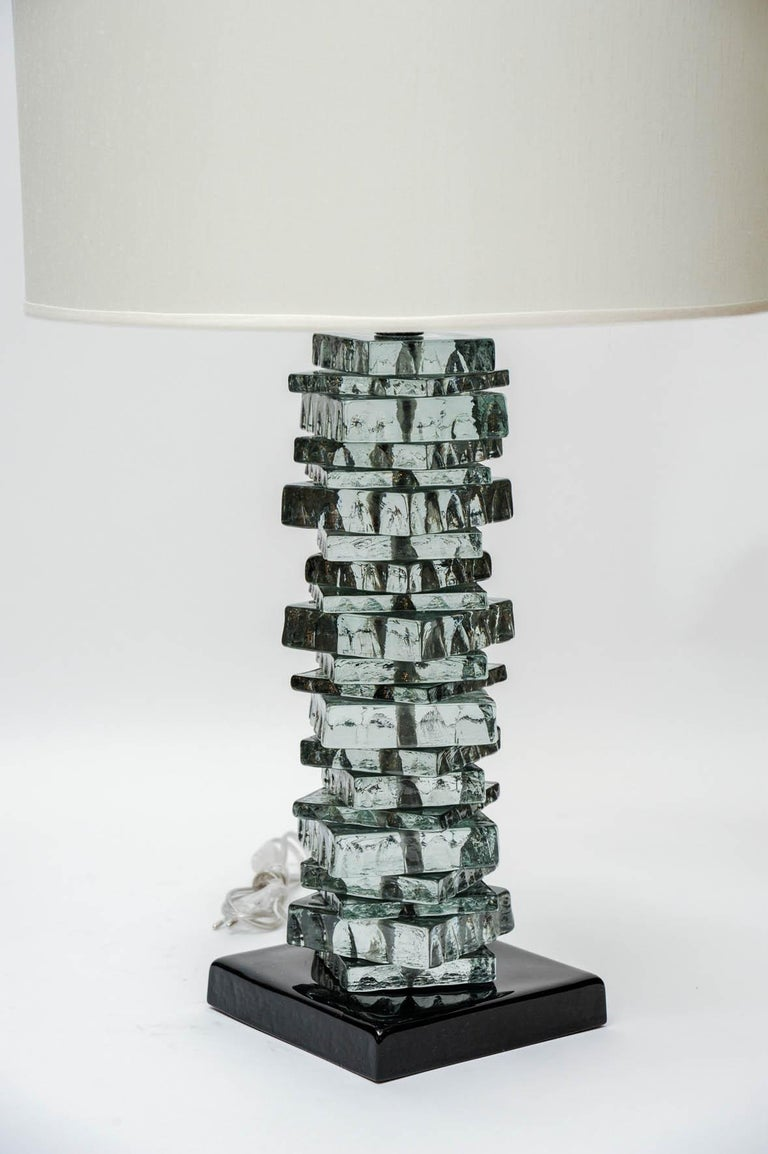 Italian Pair of Rough Cut Edges Murano Glass Table Lamps For Sale